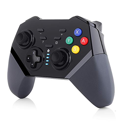 TUTUO Controller Wireless per Nintendo Switch, Controller Bluetooth PRO con Batteria Ricaricabile, Doppia Funzione Shock e Turbo, Joystick con Gyrosko a 6 Assi Compatibile con Nintendo Switch/Lite