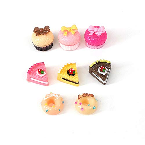 Jorzer 8pcs Puppenhaus Zubehör Weihnachten, Puppenhauszubehör 1/12 Mini-Kuchen Puppenstuben Dekoration Spiel Lebensmittel Set Küche Food Cake Donuts für Puppen Küchendeko