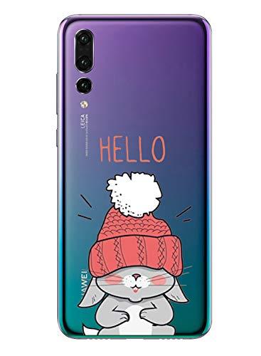 Caler Cover Compatibile con Huawei P Smart+ Plus 2019 Custodia Trasparente con Disegni TPU Morbida Bumper Case con Motivo Carino in TPU Silicone Antiurto 3D Vogue Ultra Chic