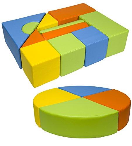 Velinda 15 Großbausteine Softbausteine Schaumstoffbausteine Bauklötze Schloss+Rad-Set (Farbe: gelb,grün,orange,hellblau)
