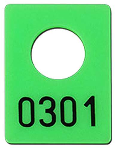 200 Garderobenmarken Kunststoff, Plastik mit Ziffernprägung # 0001-0200, Farbe wählbar (neongrün)