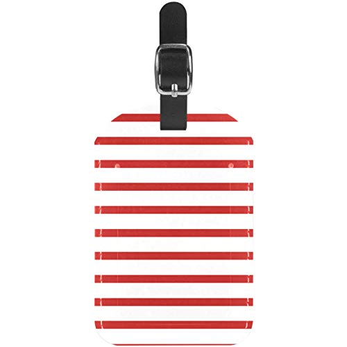 Gepäckanhänger, Leder, gestreift, Rot / Weiß, 1 Packung