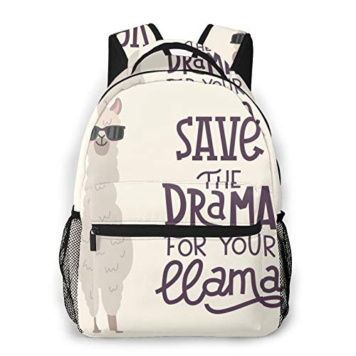 Save The Dream for Your Llama Unisex Polyester Canvas Casual Fashion Large Capacity Multi Function Backpack