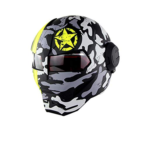 Swei Persönlichkeits-Motorradhelm Iron Man Full Face Helm Road Race Off-Road Competition Casco Moto Flip Open Mask (M, L, XL),Matte,L