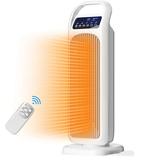 Radiateur Soufflant Céramique 2000W Avec Télécommande,Radiateurs Electriques Minuterie 9H, 3 Modes, Thermostat Numérique, Oscillation 60 °, Ecran Tactile Led