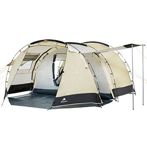 CampFeuer Tunnelzelt für 4 Personen Super+ | Großes Familienzelt mit 2 Eingängen und 3.000 mm Wassersäule | Gruppenzelt | Campingzelt (Sand/schwarz)