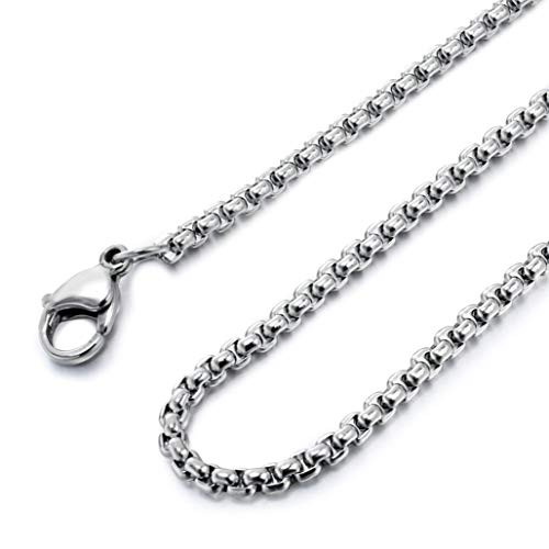 Besteel Womens Mens Stainless Steel Rolo Cable Wheat Chain Link Necklace 16-36 Inch (U:3mm Wide,22IN)