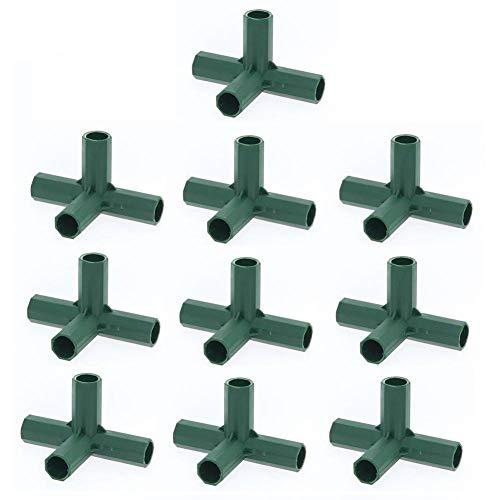10 Stück 4-Wege-PVC-Steckverbinder, Unterstützung für Hochleistungs-Gewächshausrahmen-Möbelverbinder, 16 mm