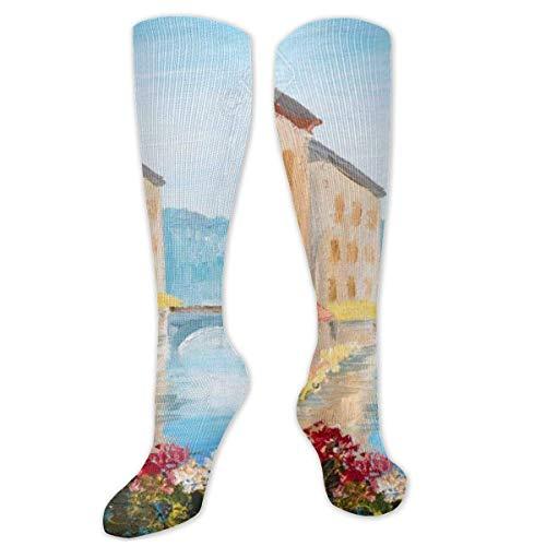 Calcetines de compresión para mujer y hombre, diseño de casas vintage