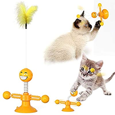 Interactive cat Toy 2021 Multifunctional Rotating Cat Toy Interactive cat Toys for Indoor Cats Circle Track Rotating Ball Toy (Orange)