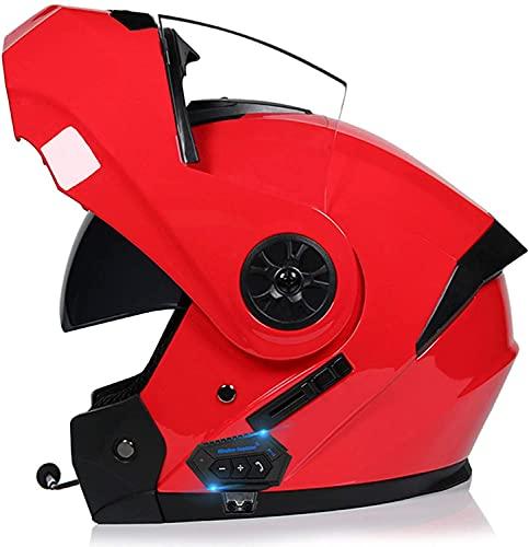 Cascos Integrados de Bluetooth Casco Plegable de Motocicletas, Casco de Motocicleta Integral Modular, ECE/Dot Certified Visor Completo Visa Doble Motorcross Helmets N (Color : E, Size : M)