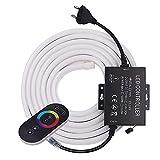 XUNATA 100m RGB Luce al Neon Flessibile 220V con Telecomando RF Touch e Alimentatore, 5050 60LED / m Striscia LED per Scaletta Tetto Cavi da Cucina Decorazione