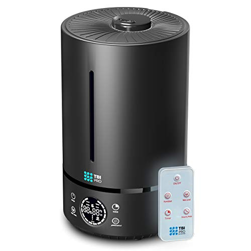 TBI Pro 6L Ultrasonic Humidifier with Top-Fill, 360° Nozzle for Home Large Room, Bedroom, Office, Travel, Babies - Easy to Clean Humidifiers Anti-Leak System, Auto Shut-Off, Black