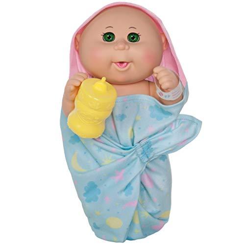 """Cabbage Patch Kids 11"""" Basic First Cuddles Newborn Drink 'n Wet (Bald, Green Eyes)"""