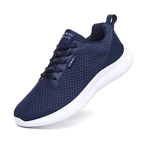BaiMoJia Laufschuhe Herren Leicht Turnschuhe Atmungsaktiv Mesh Sneaker Weich Sportschuhe Lässig Schuhe Blau 43 EU