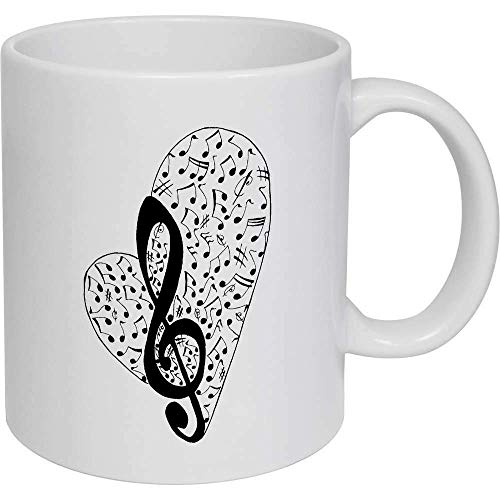 Taza de café, taza de té, taza de cerámica, diseño de corazón musical, regalo para mujeres y hombres
