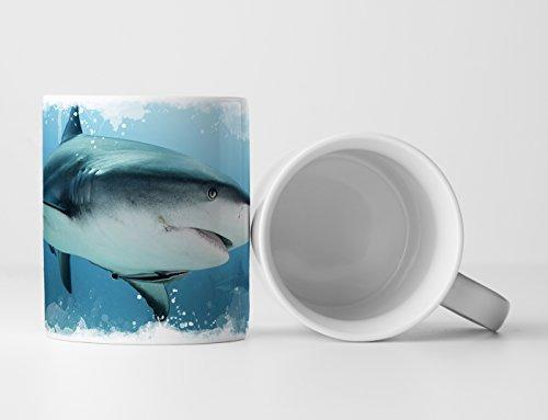Eau Zone Fotokunst Tasse Geschenk Tierfotografie – Weißer Hai in der Karibik