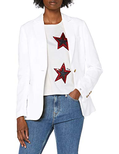 Tommy Hilfiger Damen Linen Tencel Sb Blazer Anzugjacke, Weiß (White Ybr), 70 (Herstellergröße: 32)