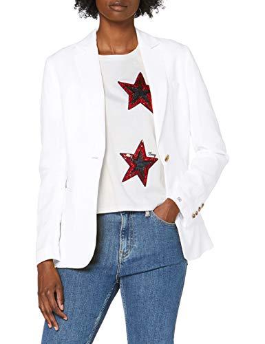 Tommy Hilfiger Linen Tencel SB Blazer Chaqueta de Traje, Blanco (White Ybr), 38 para Mujer