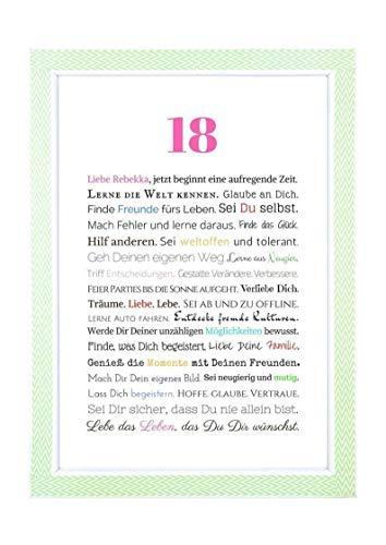 18. Geburtstag – Geschenkidee zur Volljährigkeit – Personalisiertes Bild mit Rahmen – Geburtstagsgeschenk für Mädchen/Frauen oder Beigabe zum Geldgeschenk, Kunstdruck, DIN A4 - 4