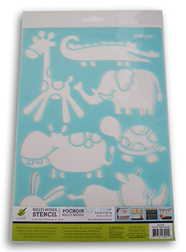 Color Factory Baby Animals Stencil - Giraffe, Hippo, Elephant, Crocodile, Rhinoceros, Bunny, Turtle - 7.5 x 11 Inches