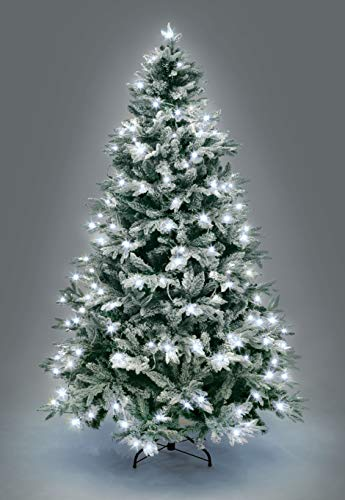 SHATCHI Pre-Lit Lapland Fir Artificial Green Christmas Tree Snow Flocked PE PVC Mixed Tips Hinged Branches Bushy Xmas Home Snowy Decorations, Metal Stand – (4ft-10ft), White LEDs, 7ft