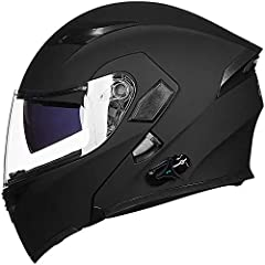 Meet or exceed DOT safety standards. The Bluetooth motorcycle helmet is made of quality ABS shell, designed with dual visor, replaceable liners and air ventilation system, it ensures safety and comfortable wearing conditions while riding on the road....