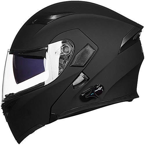 ILM Bluetooth Motorcycle Helmet Modular Flip up Full Face Dual Visor Mp3 Intercom FM Radio DOT Approved (Matte Black, L)
