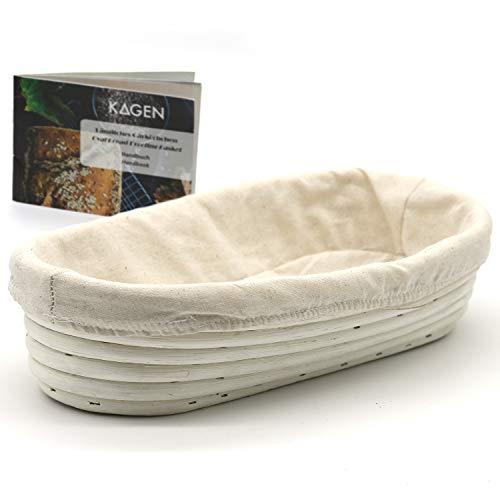 KAGEN Gärkörbchen für selbstgebackene Brote von 700g - 1500g - länglich 29 x 14,5 cm, 100% natürliche Materialien