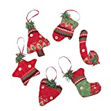 Hainice Adornos de árbol de Navidad Navidad calcetín estrella guante corazón árbol colgante colgante 6 piezas