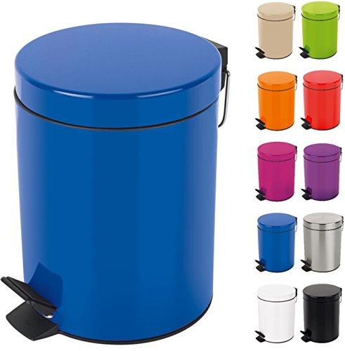 Spirella Kosmetikeimer Sydney Blau Mülleimer Treteimer Abfalleimer - 3 Liter – mit herausnehmbaren Inneneimer