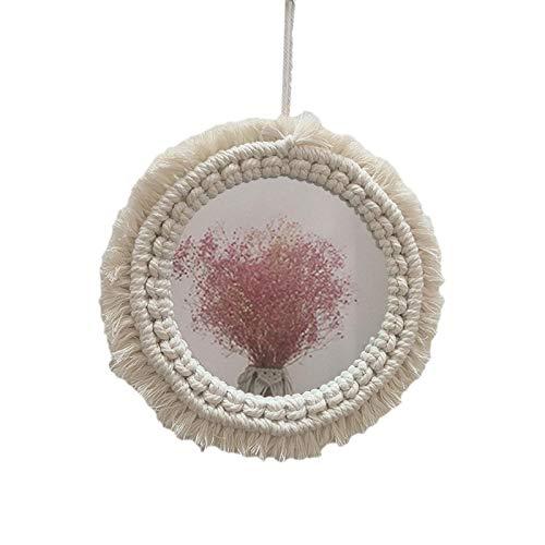 Lo nuevo Macrame Mirrame Mirry Mirror, artesanía tejida colgante decoración de pared de pared, algodón natural estilo maquillaje de maquillaje para habitación dormitorio dormitorio dormitorio