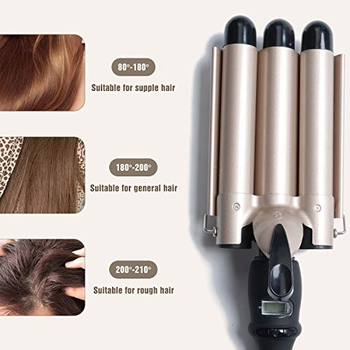 STORMHERO Hair Curler 3 Barrel Curling Iron Curler Crimpers Curling Tongs Ceramic Hair Wavers Curling Wands Curler Styling Tools Easy to use Fast Heating Hot Tools Hairstyle (Black & Gold)