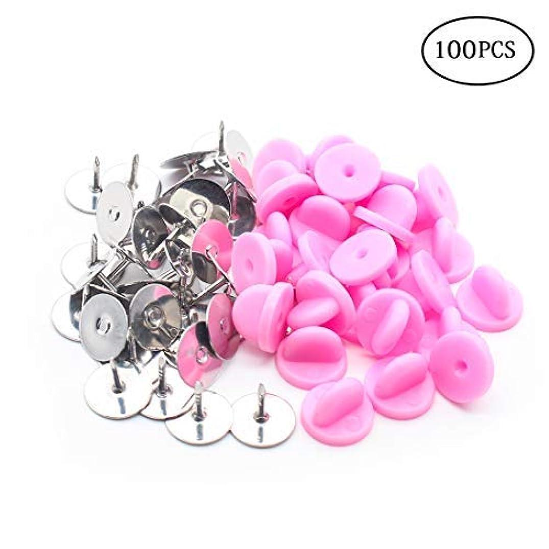 PVC Rubber Pin Backs+Silver Pins 100 Pairs