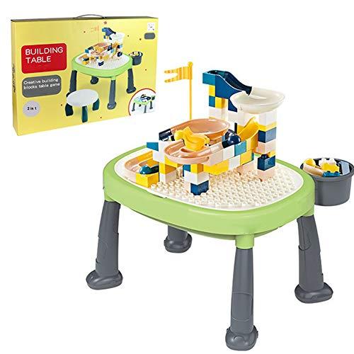 Mesa de construcción de rompecabezas multifuncional, escritorio de actividades con función de almacenamiento, 83 bloques de construcción grandes de bricolaje, juego de mesa y silla para niños de 3 a