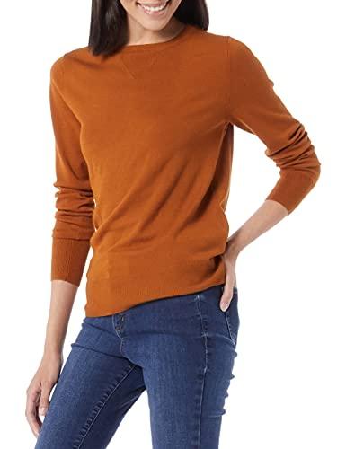 Amazon Brand - Daily Ritual Women's Fine Gauge Stretch Crewneck Pullover Sweater, Caramel,Small