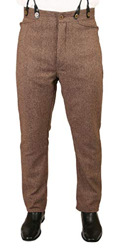Historical Emporium Men's Herringbone Tweed Dress Trousers 34 Brown