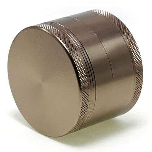 DFBGL Molinillo recolector de Hierbas de Tabaco pequeño de Aluminio de 4 Capas, trituradora Manual de Especias de Humo con Recipiente de Almacenamiento magnético (Color: Bronce)