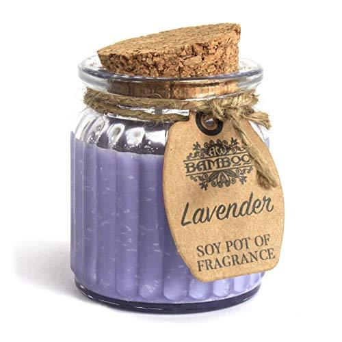 Bamboo 100% Sojawachs Kerze im Glas mit Korkdeckel - Vegan / 100% Natürlich (Lavendel)