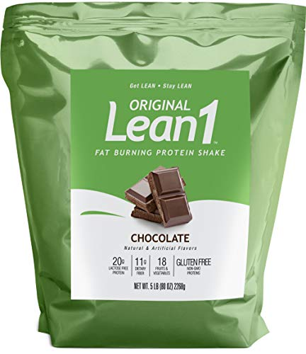 Lean1 Chocolate 5 Pound (38 Servings), Fat Burning Meal Replacement