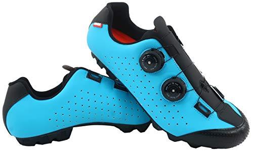 LUCK Zapatilla de Ciclismo MTB Eros con Doble Cierre rotativo de Alta precisión. (46 EU, Azul)