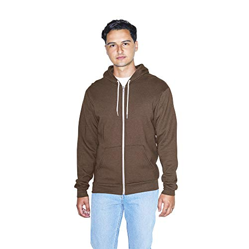 American Apparel Herren Flex Fleece Long Sleeve Zip Hoodie Kapuzenpulli, braun, X-Groß