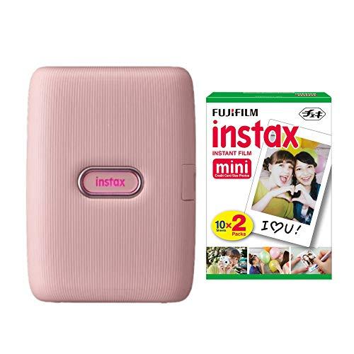 Fujifilm Instax Mini Link Smartphone Printer (Dusky Pink) + Fuji Instax Mini Film (40 Sheets)