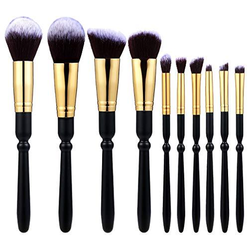 WOZOW 10 Pièces Manche En Bois Tube D'or Fond Marron Pinceau De Maquillage Pointe Blanche (Noir)