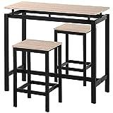 LIZONGFQ Juego de mesa de bar, 3 piezas, mesa de bar de cocina, marco de metal, juego de mesa de comedor, uso para cocina, comedor, bar, 100 x 40 x 90 cm, roble