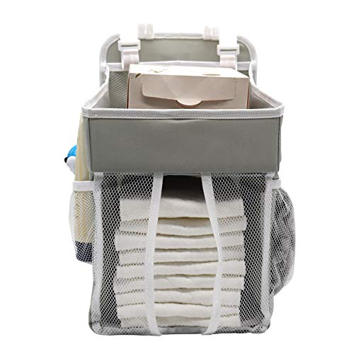 Cenland Baby Diaper Caddy and Nursery Hanging Organizers,Hanging Diaper Organization Storage for Baby Essentials,Perfect for Hanging on Crib,Baby Carriage,Table or Wall (Grey)