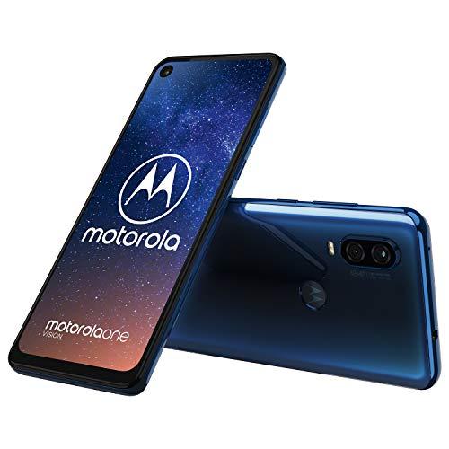 Motorola One Vision Dual-Sim Smartphone (6, 3 Zoll Bildschirm, 48-MP-Sensor, 12-MP- + 5-MP-Dual-Kamera, 128 GB/4 GB, Android 9.0) blau + Schutzcover