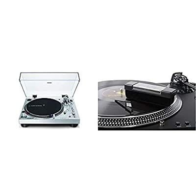 Audio-Technica AT-LP120XUSB Manual Direct-Drive Turntable (Analogue and USB) & Acc-Sees Pro Vinyl Velvet Brush Record Cleaner – Includes Stylus Pick Up Brush - Anti-Static