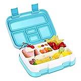 hongxyunf Blue Bento Box Brotdose für Kinder, 5 Fächer, auslaufsichere Brotdose für Kinder, mikrowellengeeignet, spülmaschinenfest, BPA-frei, geruchs- und geschmacksneutral
