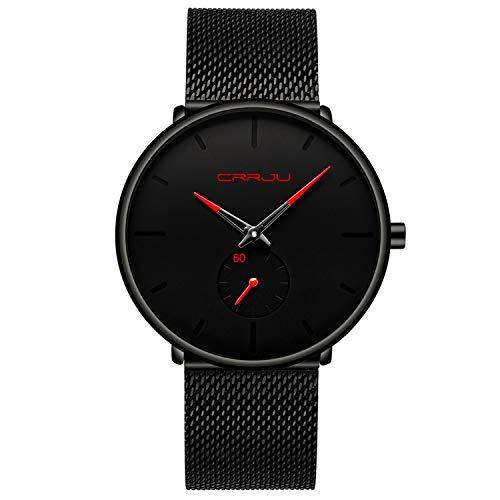 Herren Uhren Quarz Minimalistische Analoganzeige Armbanduhr mit Milanese Mesh Edelstahl Rot